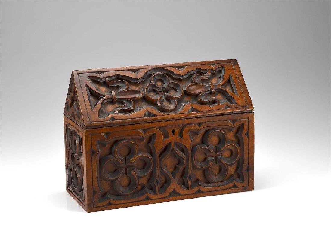 Carved wood document box