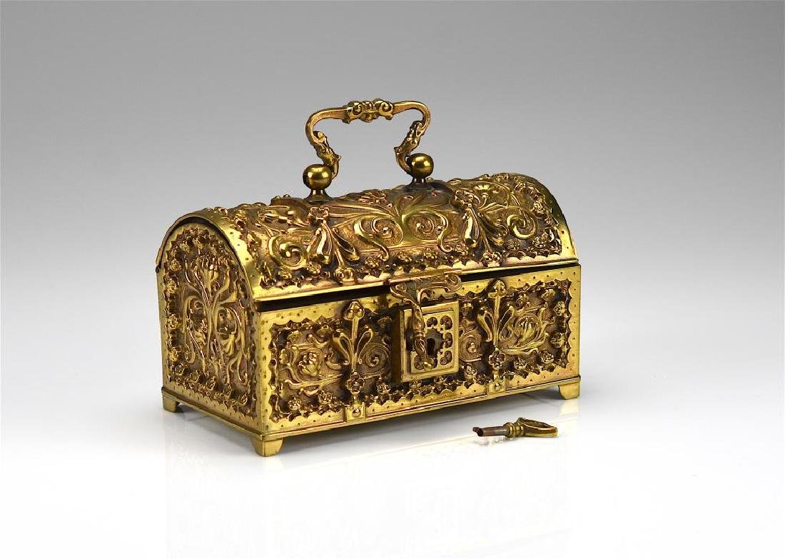 Art Nouveau brass casket