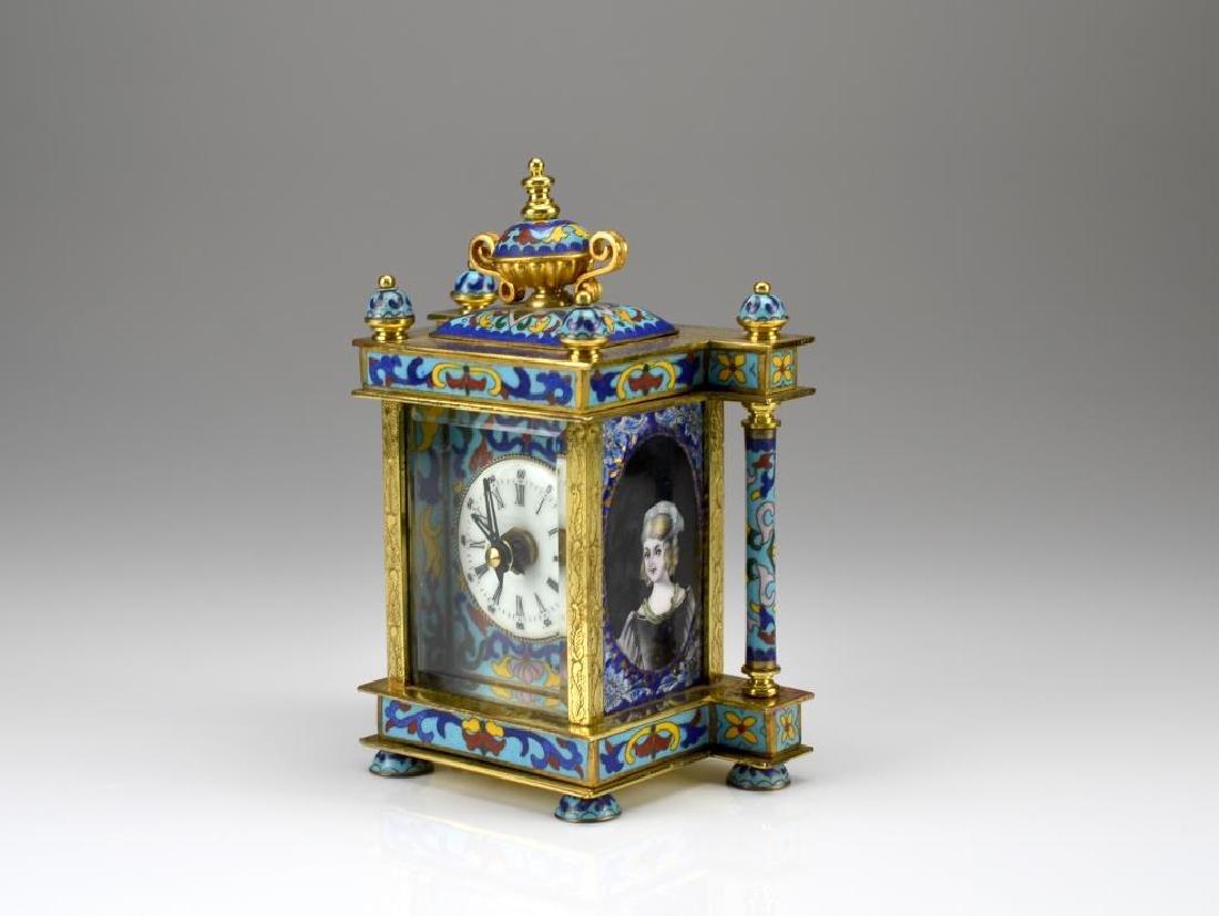 Cloisonne and enamel desk clock