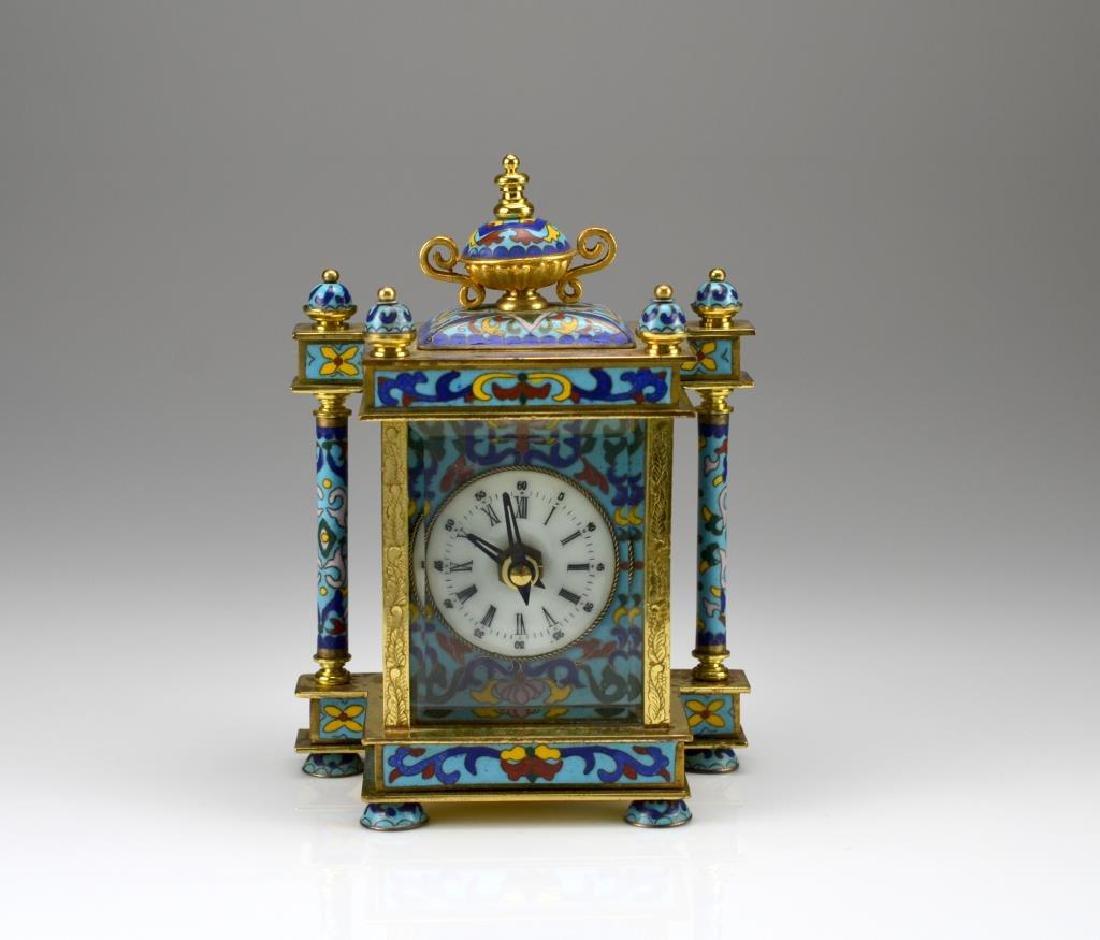 Cloisonne and enamel desk clock - 2
