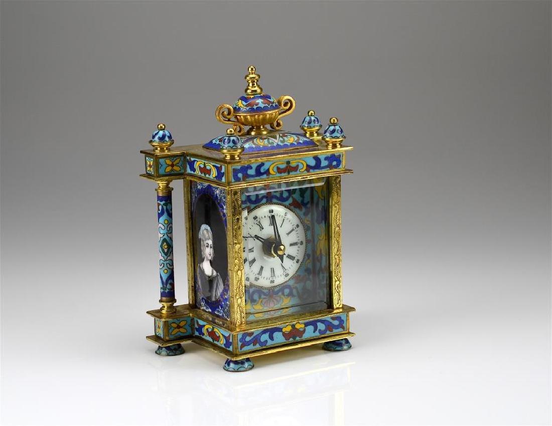 Cloisonne and enamel desk clock - 3