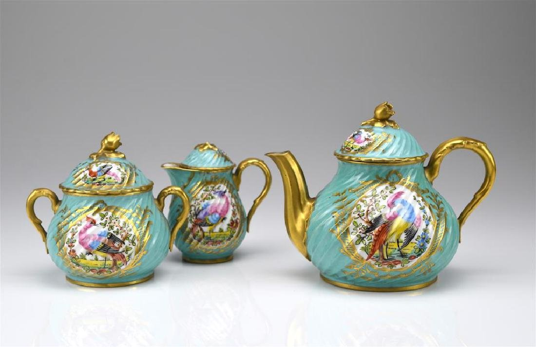 French three piece porcelain tea service