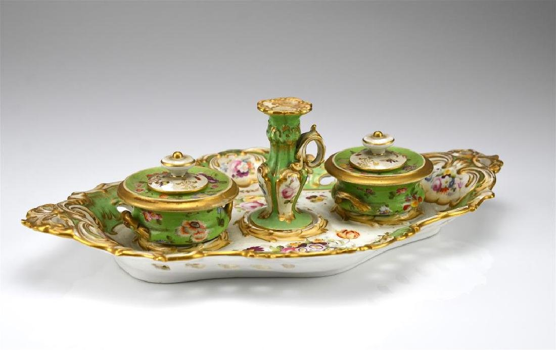 19th C English porcelain inkstand
