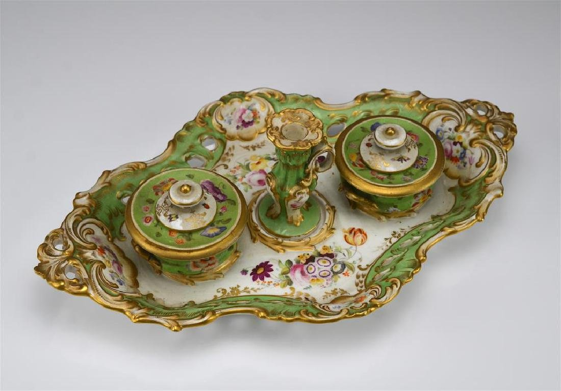 19th C English porcelain inkstand - 3