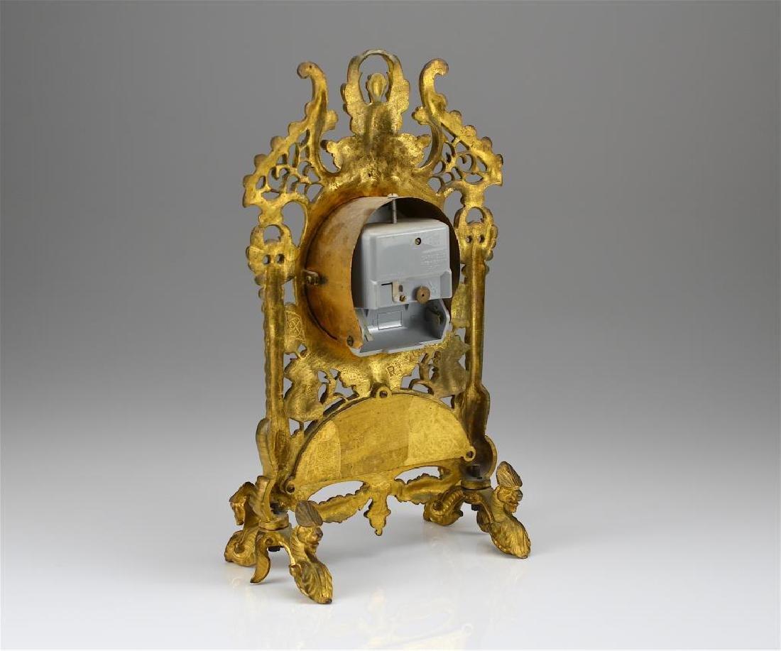 Ornate gilt metal mantel clock - 2