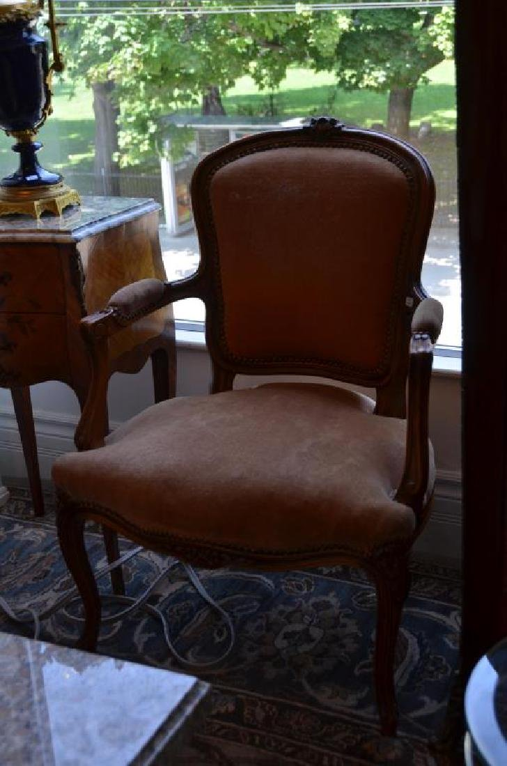 Pr of French carved wood and upholstered armchairs
