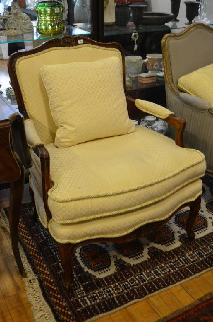 French carved wood and upholstered bergere