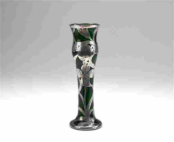 American green glass vase with silver overlay