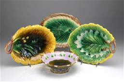 Four pieces of Majolica pottery