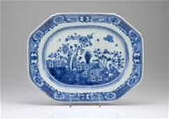 CHINESE EXPORT BLUE & WHITE PORCELAIN PLATTER