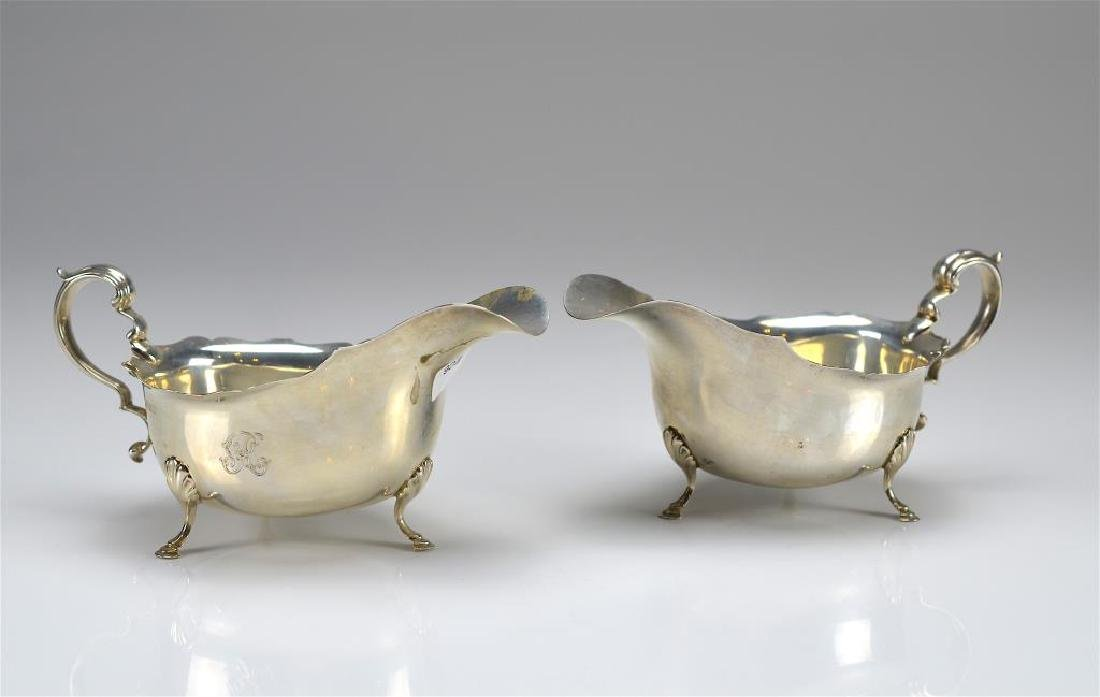 Pair of English silver sauce boats