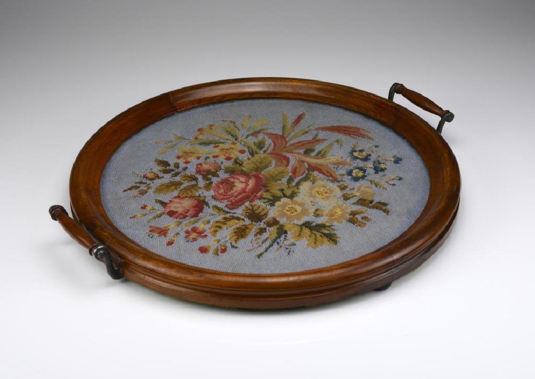 Circular antique English beaded tray