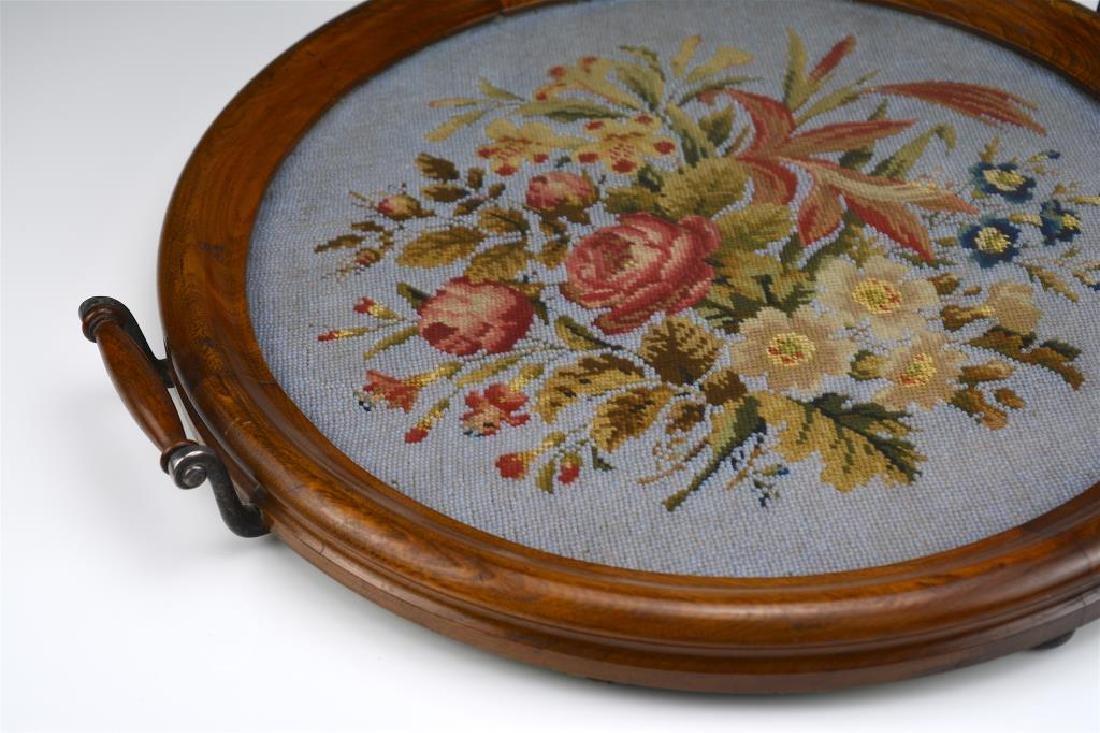 Circular antique English beaded tray - 2