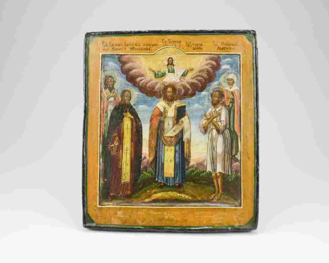 19th C Russian hand painted icon on wood panel