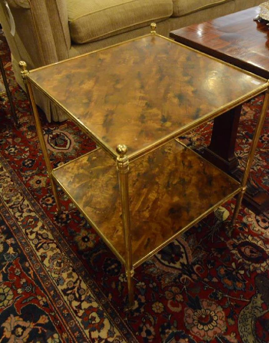 Three brass side tables