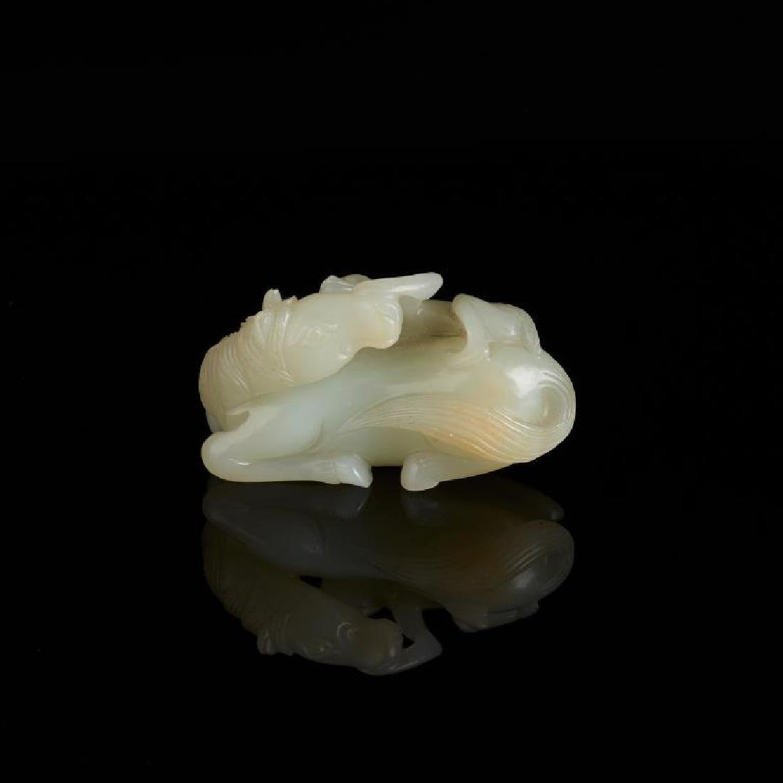 CHINESE CARVED JADE HORSE AND MONKEY GROUP