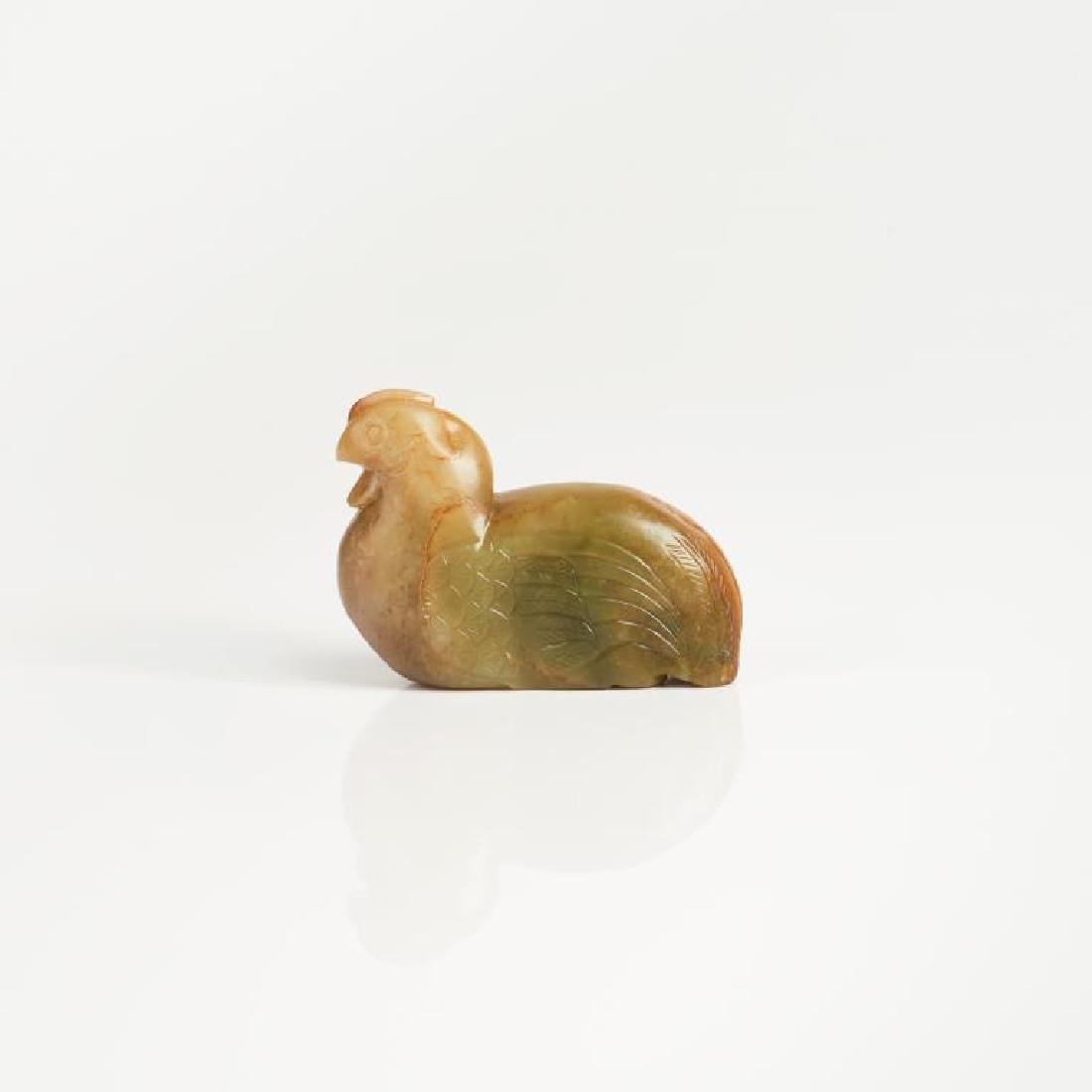 CHINESE CARVED JADE CHICKEN FIGURE - 2