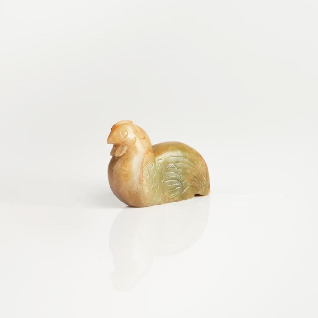 CHINESE CARVED JADE CHICKEN FIGURE - 3