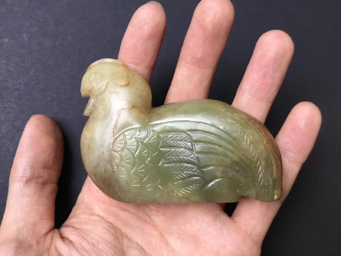 CHINESE CARVED JADE CHICKEN FIGURE - 6