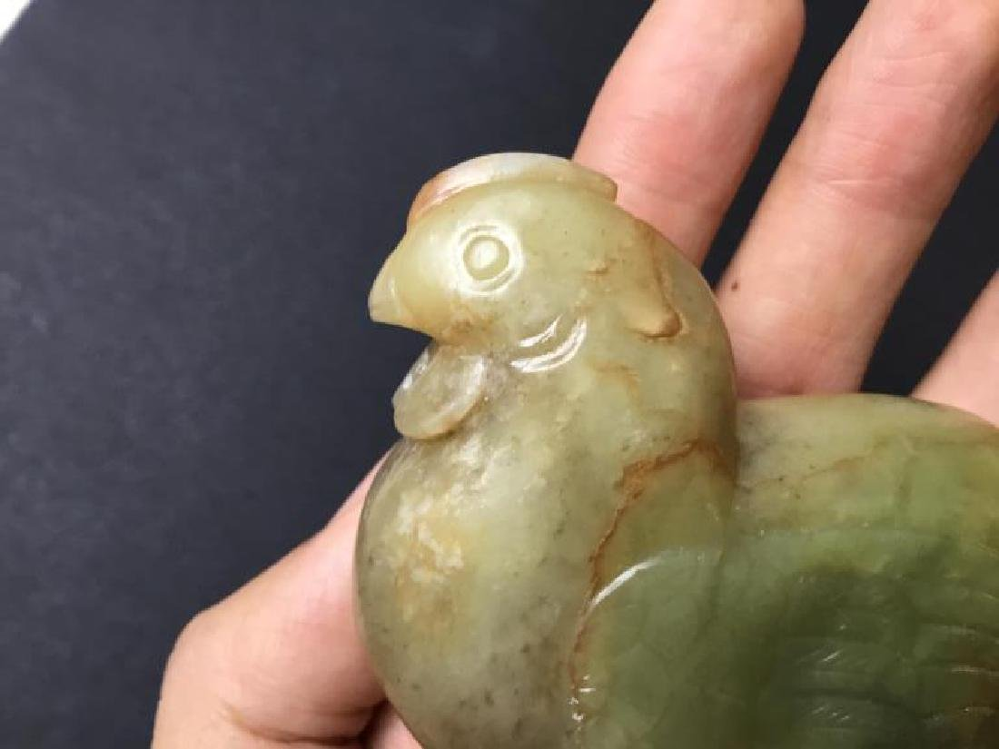 CHINESE CARVED JADE CHICKEN FIGURE - 7