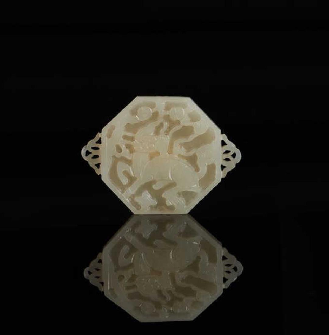 CHINESE CRAVED JADE OCTAGONAL PLAQUE
