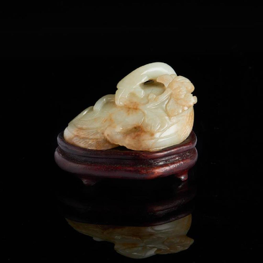 CHINESE JADE CARVED DUCK AND LOTUS GROUP - 2