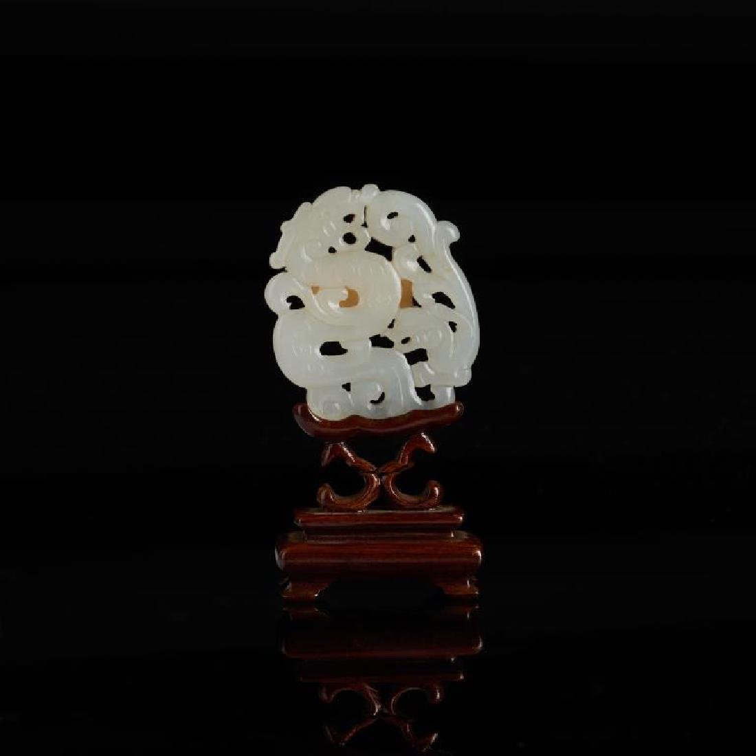 CHINESE WHITE JADE CARVED PLAQUE - 4