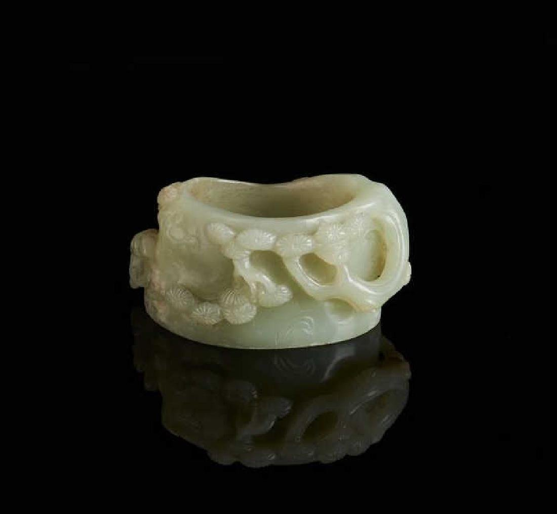 CHINESE JADE CARVED TREE FORM WASHER
