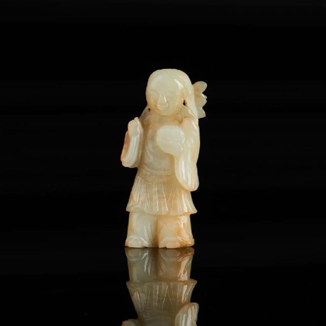 CHINESE JADE CARVED FIGURE WITH LOTUS
