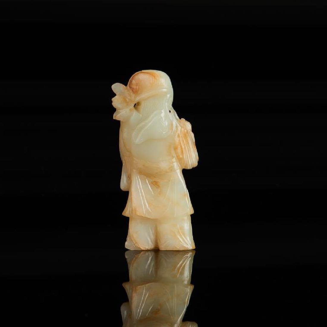 CHINESE JADE CARVED FIGURE WITH LOTUS - 2