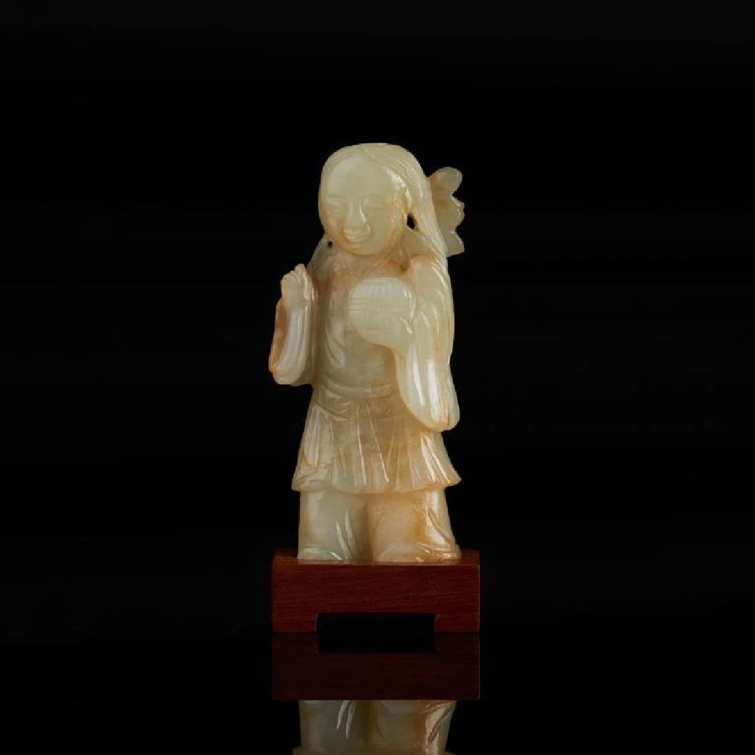 CHINESE JADE CARVED FIGURE WITH LOTUS - 3