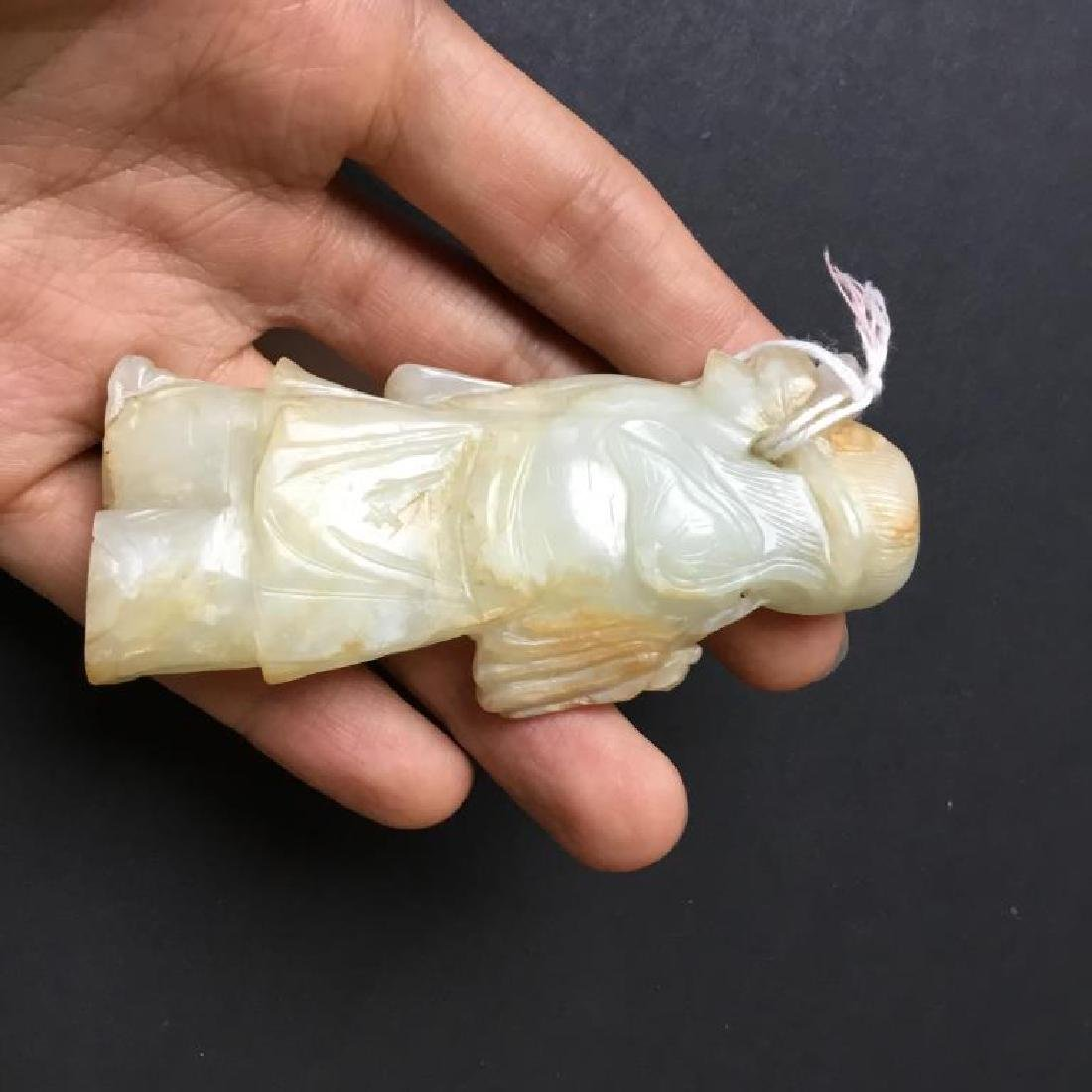 CHINESE JADE CARVED FIGURE WITH LOTUS - 8