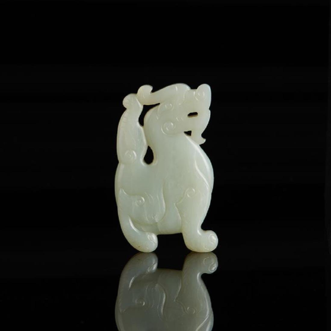 CHINESE CELADON JADE CARVED MYTHICAL BEAST