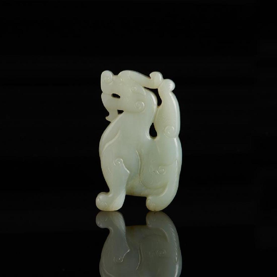 CHINESE CELADON JADE CARVED MYTHICAL BEAST - 2