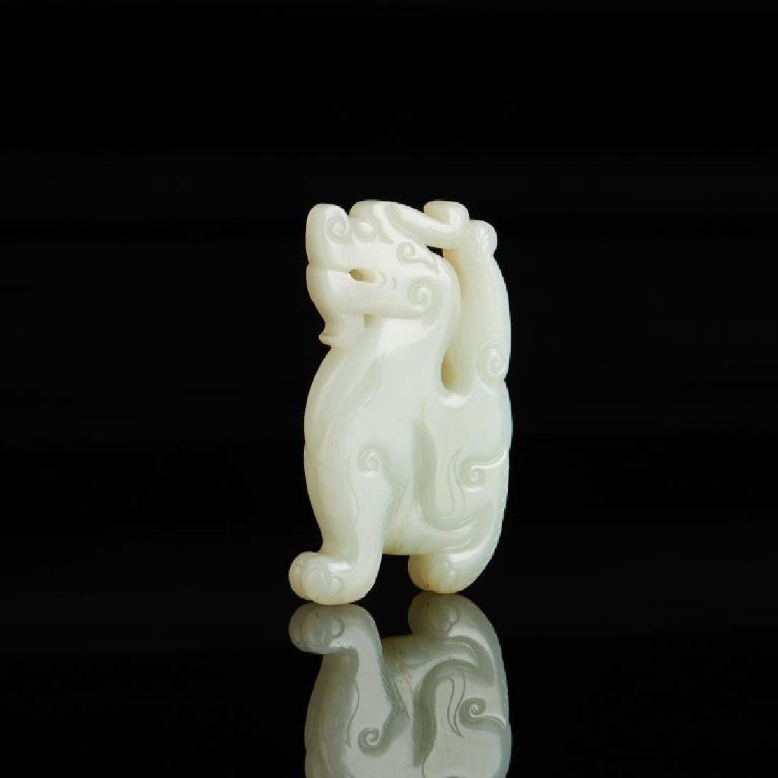 CHINESE CELADON JADE CARVED MYTHICAL BEAST - 3