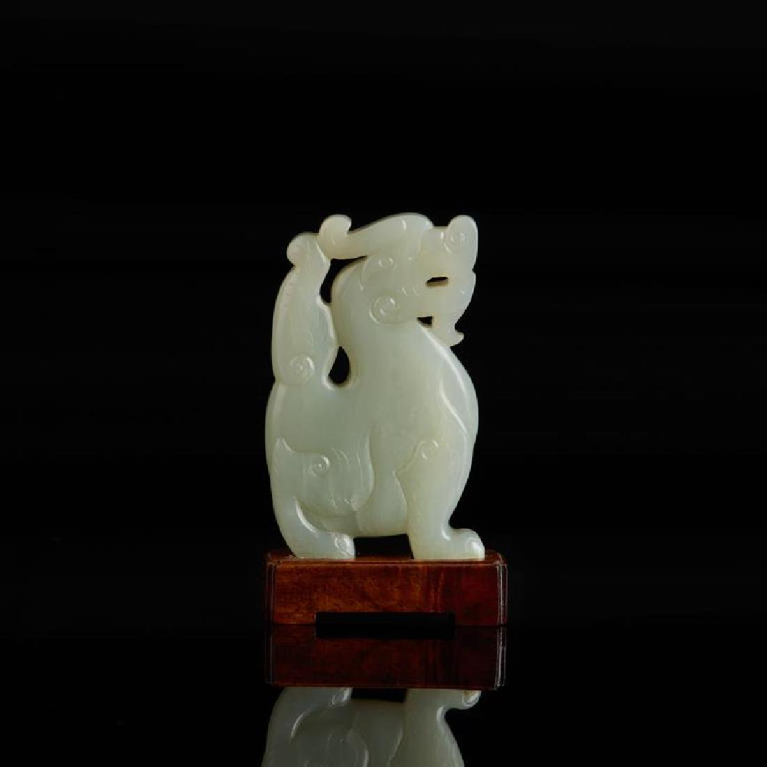 CHINESE CELADON JADE CARVED MYTHICAL BEAST - 4