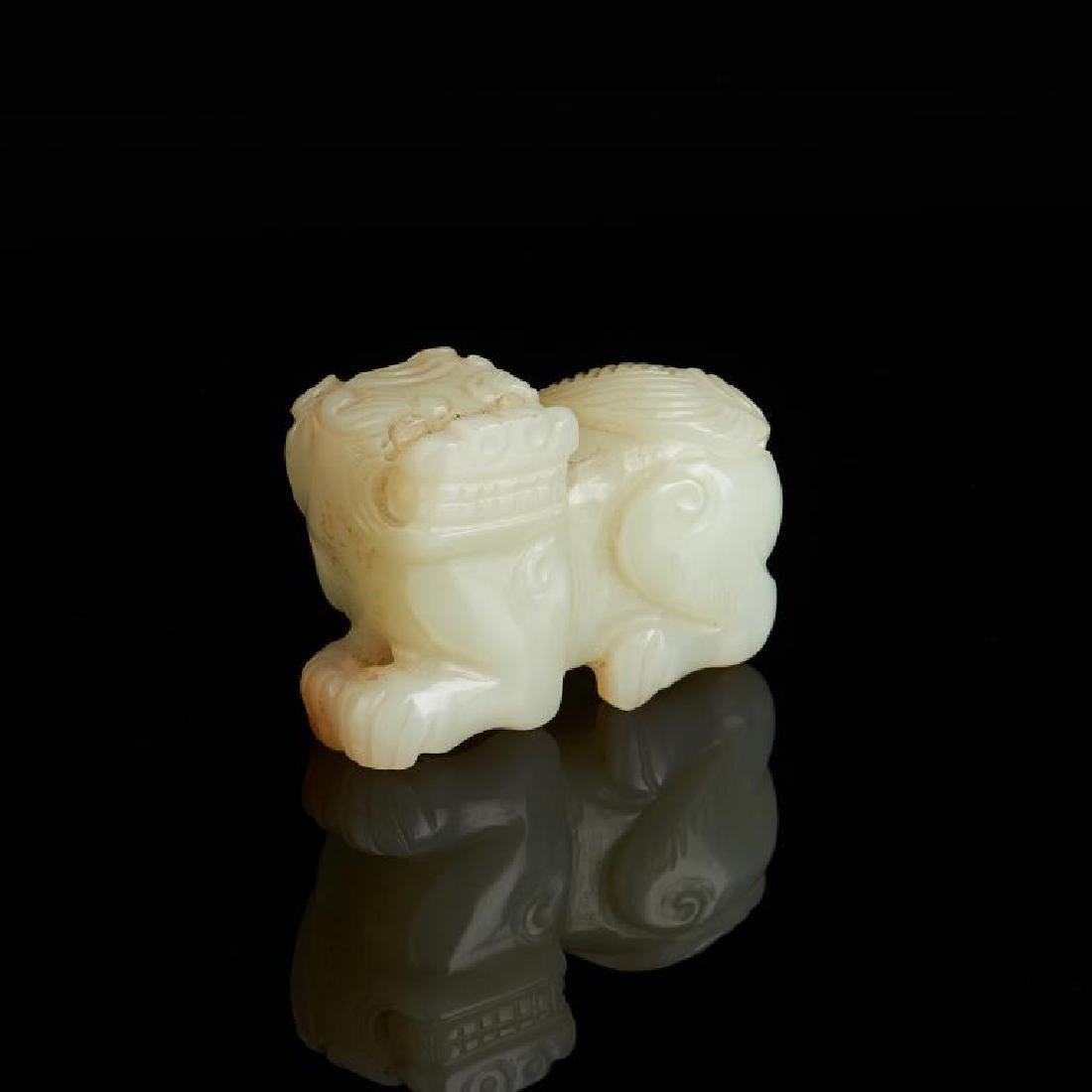 CHINESE CELADON JADE CARVED LION BEAST