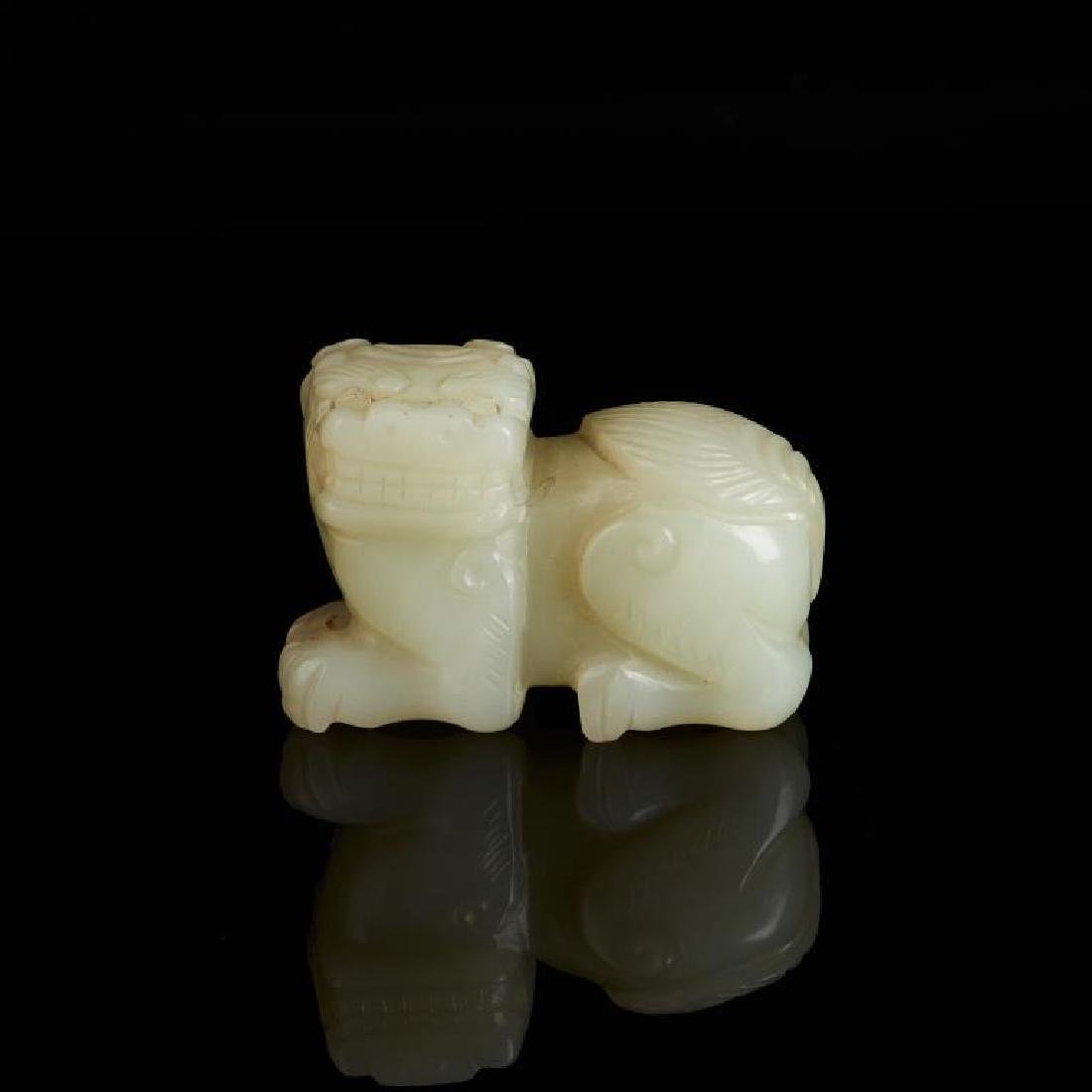 CHINESE CELADON JADE CARVED LION BEAST - 2