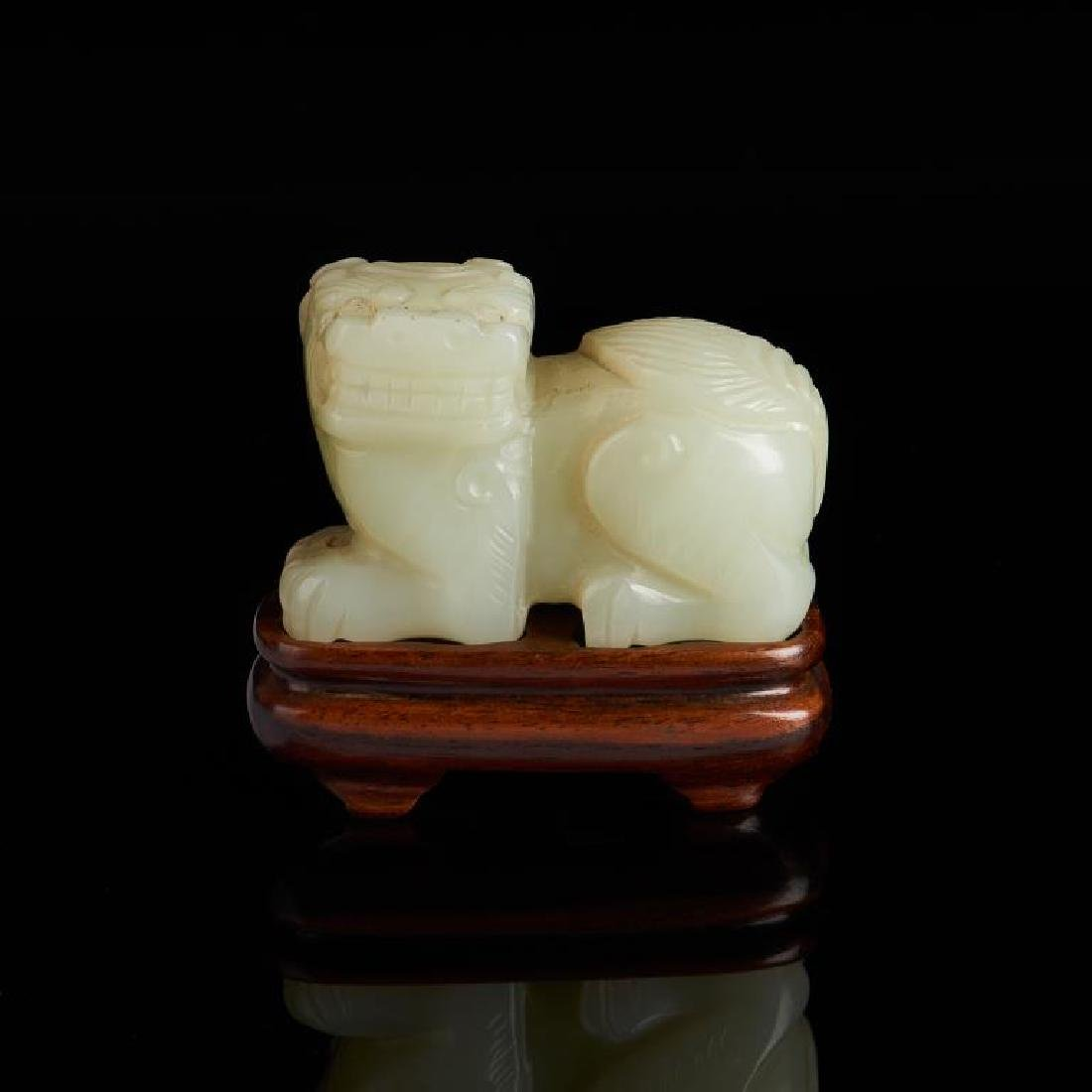 CHINESE CELADON JADE CARVED LION BEAST - 3