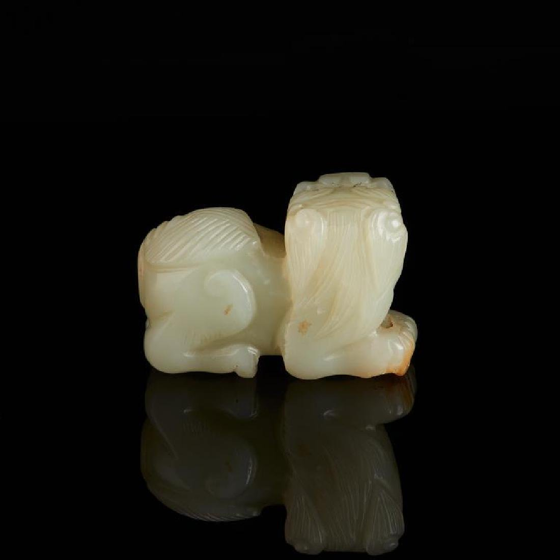 CHINESE CELADON JADE CARVED LION BEAST - 4