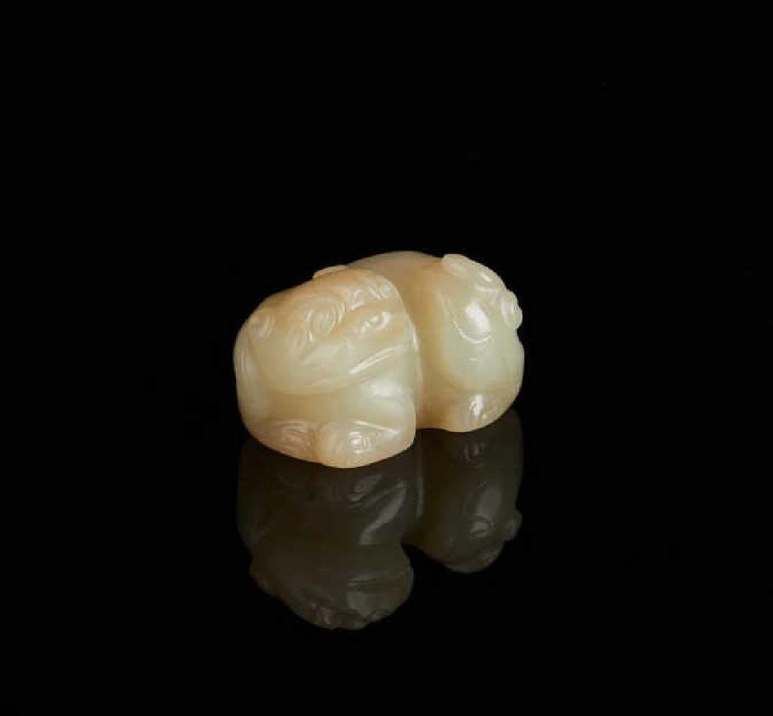 CHINESE CELADON JADE CARVED MYSTHICAL ANIMAL