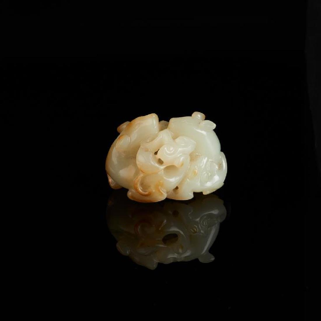 CHINESE JADE CARVED MYTHICAL ANIMAL GROUP - 2