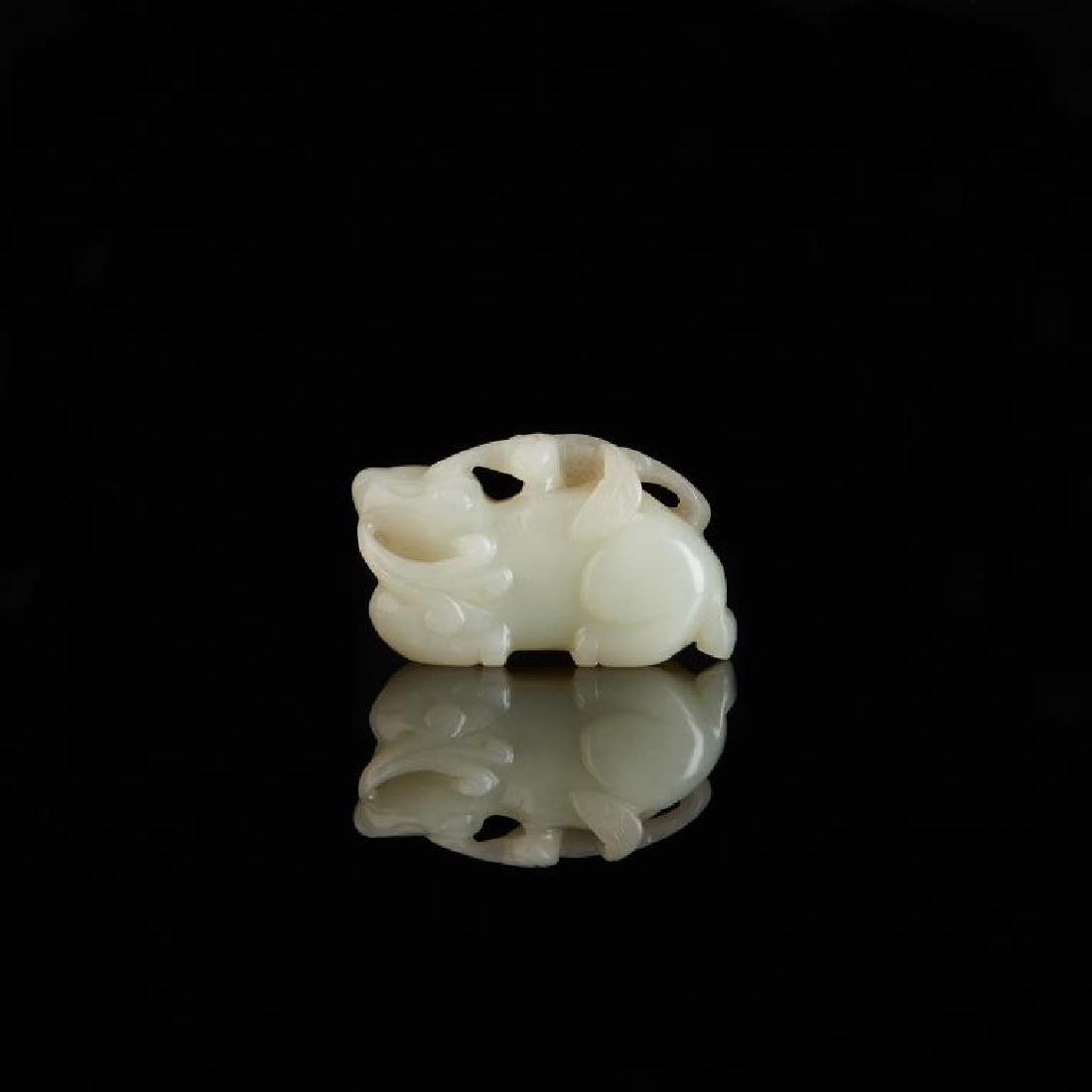 CHINESE CELADON JADE CARVED MYTHICAL ANIMAL - 2