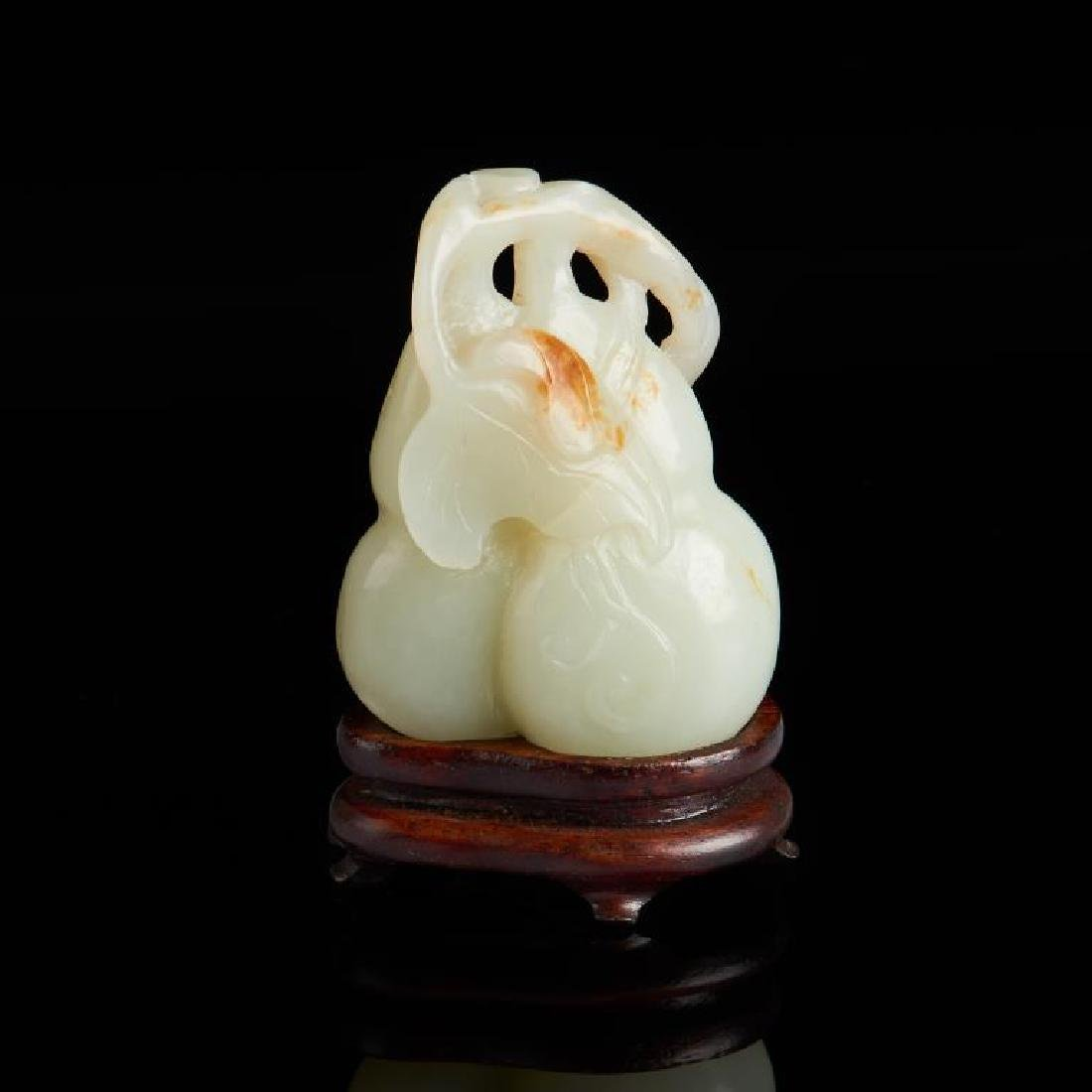 CHINESE CELADON JADE CARVED DOUBLE GOURD GROUP - 2