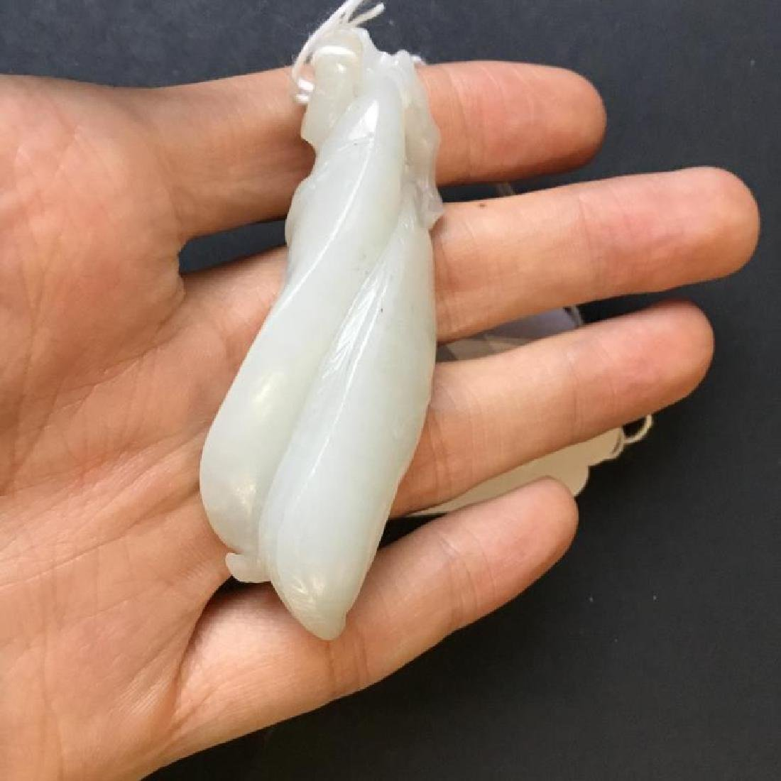 CHINESE CARVED WHITE JADE PEA PODS - 6