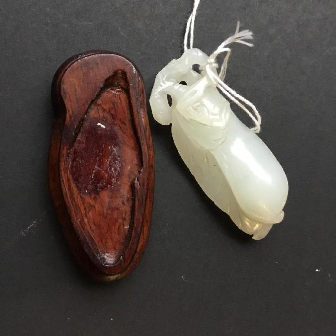 CHINESE CARVED WHITE JADE PEA PODS - 7
