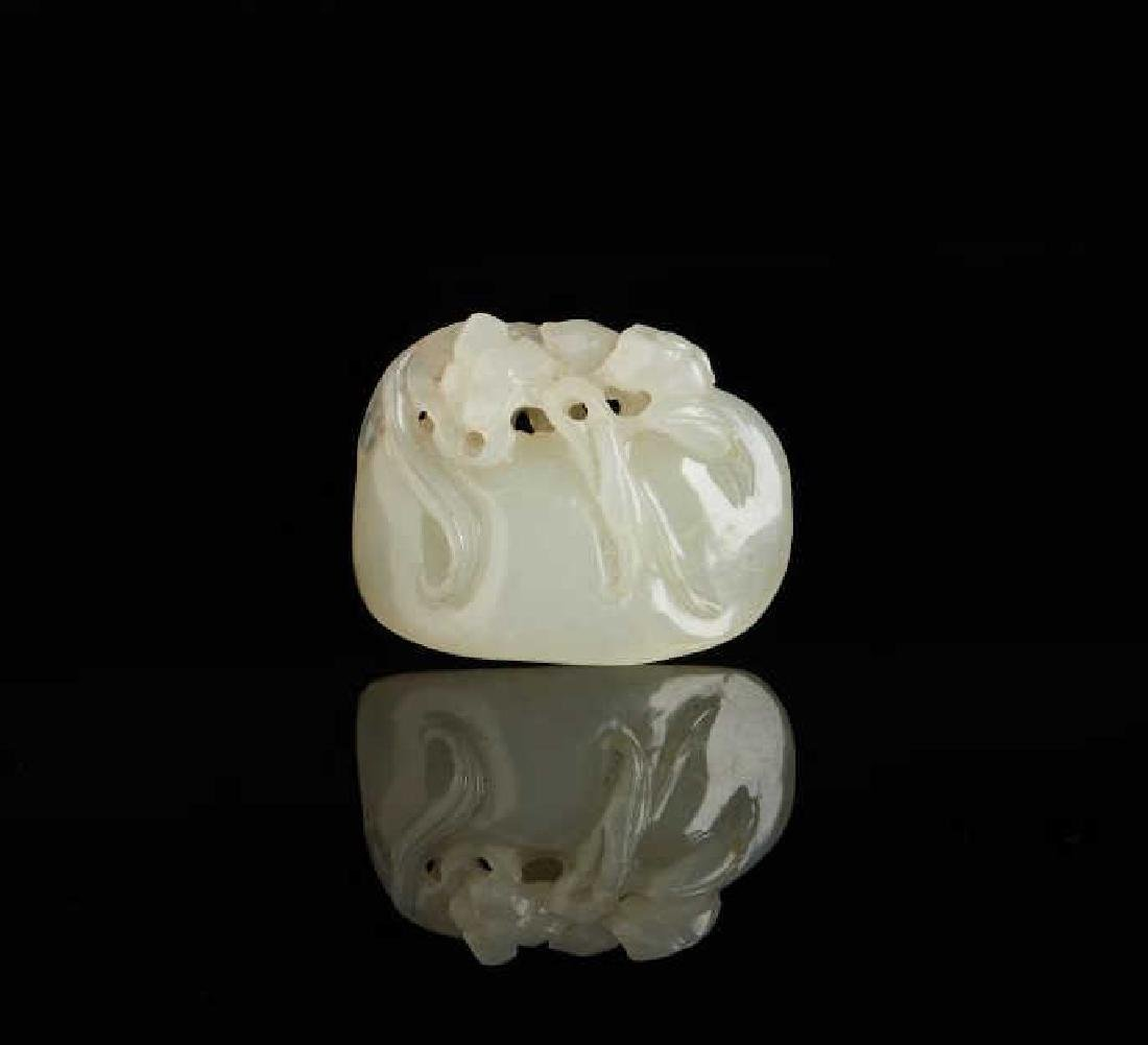 CHINESE CARVED WHITE JADE LINGZHI PENDANT