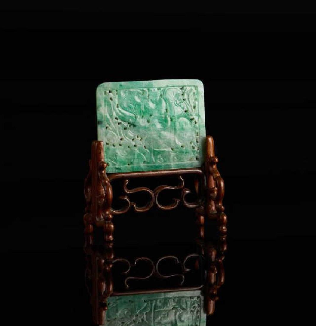 CHINESE JADEITE CARVED RECTANGLE PLAQUE