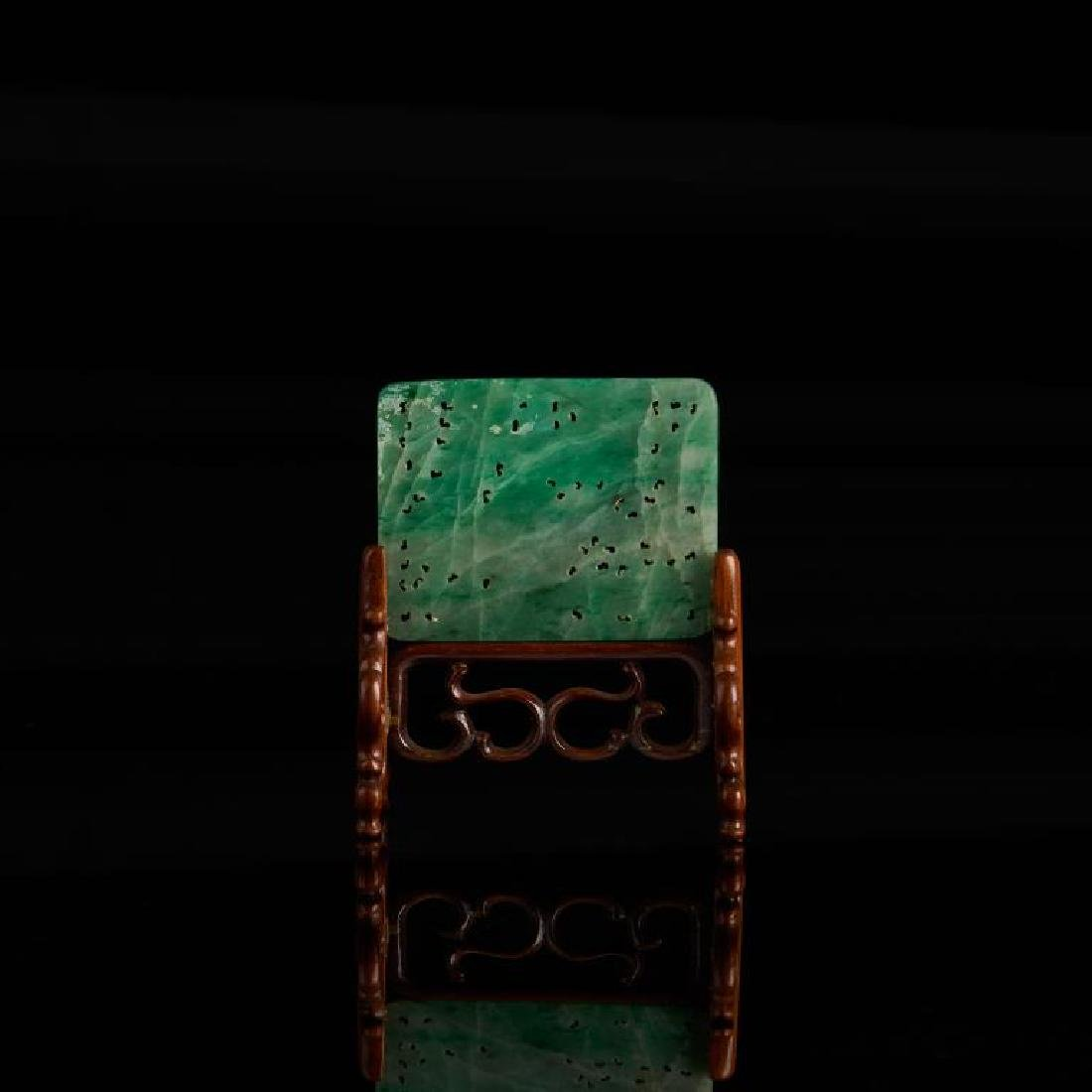 CHINESE JADEITE CARVED RECTANGLE PLAQUE - 3