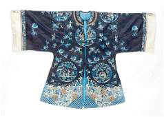 CHINESE SILK EMBROIDERED BLUE GROUND LADY'S ROBE